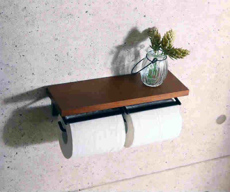 【SIGNO】トイレットペーパーホルダー2連 ダブル 木製 アンティーク ウッド カバー 台 スタンド ステンレス アイアン 棚 スチール サニタリー 洗面台 トイレ