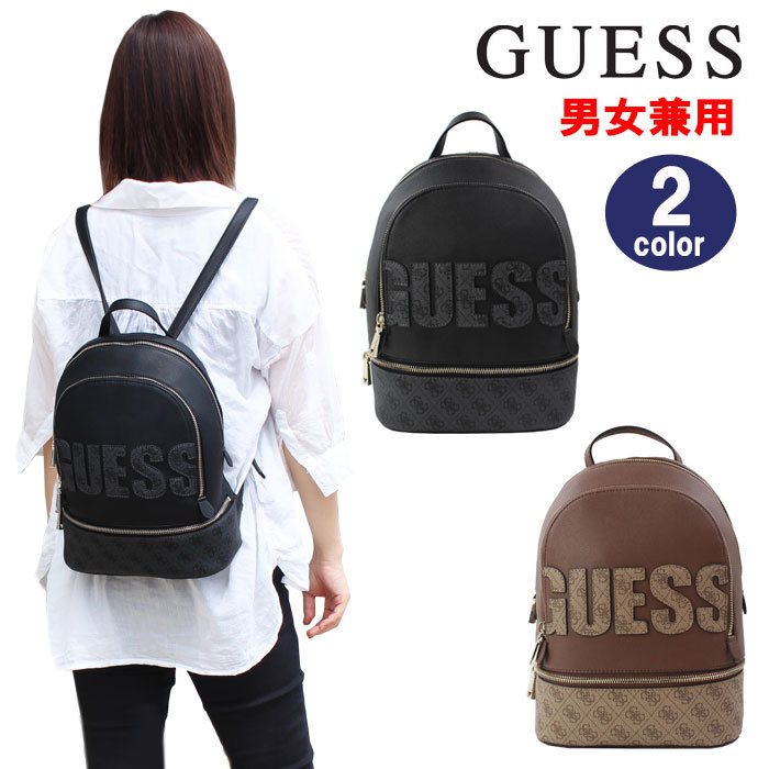 real quality big discount sale quality design ゲスバッグ SC741133 SG741133 GUESS SKYE LARGE BACKPACK rucksack monogram pattern  fake leather backpack day pack rucksack back black brown man and woman ...