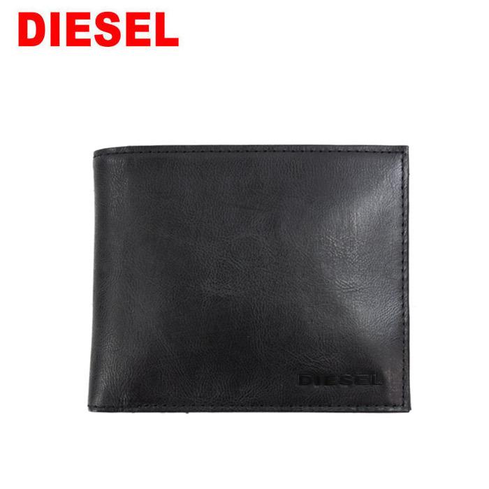 ディーゼル 財布 X05987 T8013 DIESEL 二つ折り財布 無地 ブラック BLACK ブラックプレートロゴ レザー 本革 メンズ レディース ag-266300