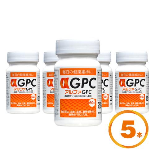 αGPC (アルファGPC) 60粒 高純度グリセロホスホコリン配合 5本セット 【送料無料】 【子供 サプリメント】【レシチン】