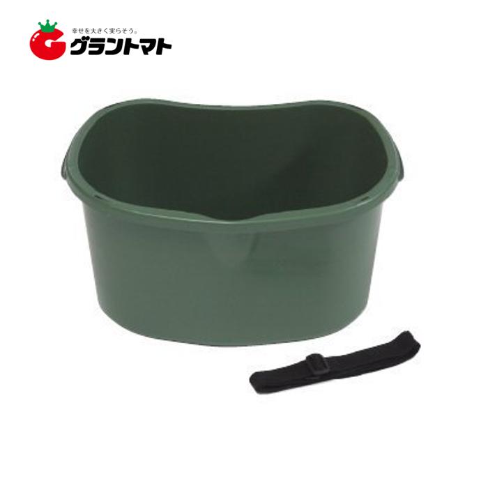 肥料散布&収穫桶 ベルト付き 約17L型 ダークグリーン パック売り20個入り 手動用 安全興業【メーカー直送】