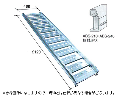 1.2t アルミブリッジ 2本セット アルミス アルミブリッジ 小型建機・農機用 ABS-210-40-1.2 【ツメ式】【有効長2100×有効幅400(mm)】【210cm 40cm 1.2t】【最大積載1.2t/セット(2本)】【代引不可】 道板 歩み板 ラダー