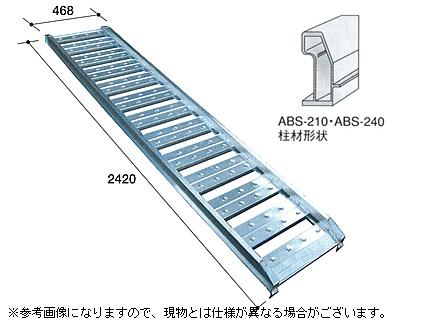 1.2t アルミブリッジ 2本セット アルミス アルミブリッジ ABS-240-40-1.2 【フック式・ツメ式】【有効長2400×有効幅400(mm)】【最大積載1.2t/セット】 小型建機・農機用 道板 歩み板 ラダー