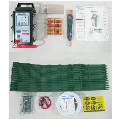 タイガー 電気柵 100mX2段張りセット 小虎くんセットS TAK-KS02(防雨型)(乾電池タイプ)(本器:アニマルキラー CA15DC) 電気さく 電柵 電気牧柵