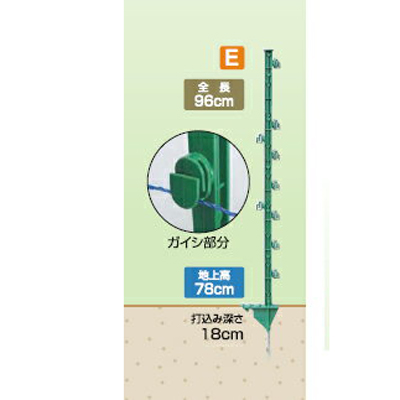 2020年8月19日より順次発送予定 タイガー 電気柵 資材 TBS-PJ2096I ガイシ付FRP支柱 足踏み型 50本入 (20mm角×長さ96cm) アニマルキラー アニマルポールi TAK-P008