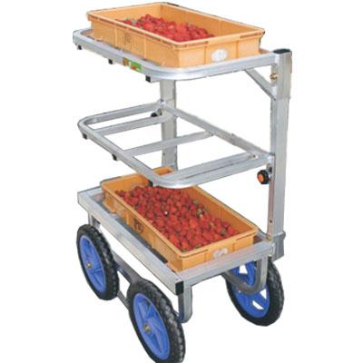 【個人宅配送OK】ハラックス SW-312 愛菜号 いちご収穫用ワゴン3段タイプ 運搬車 【30キロ積載】【代引きOK】
