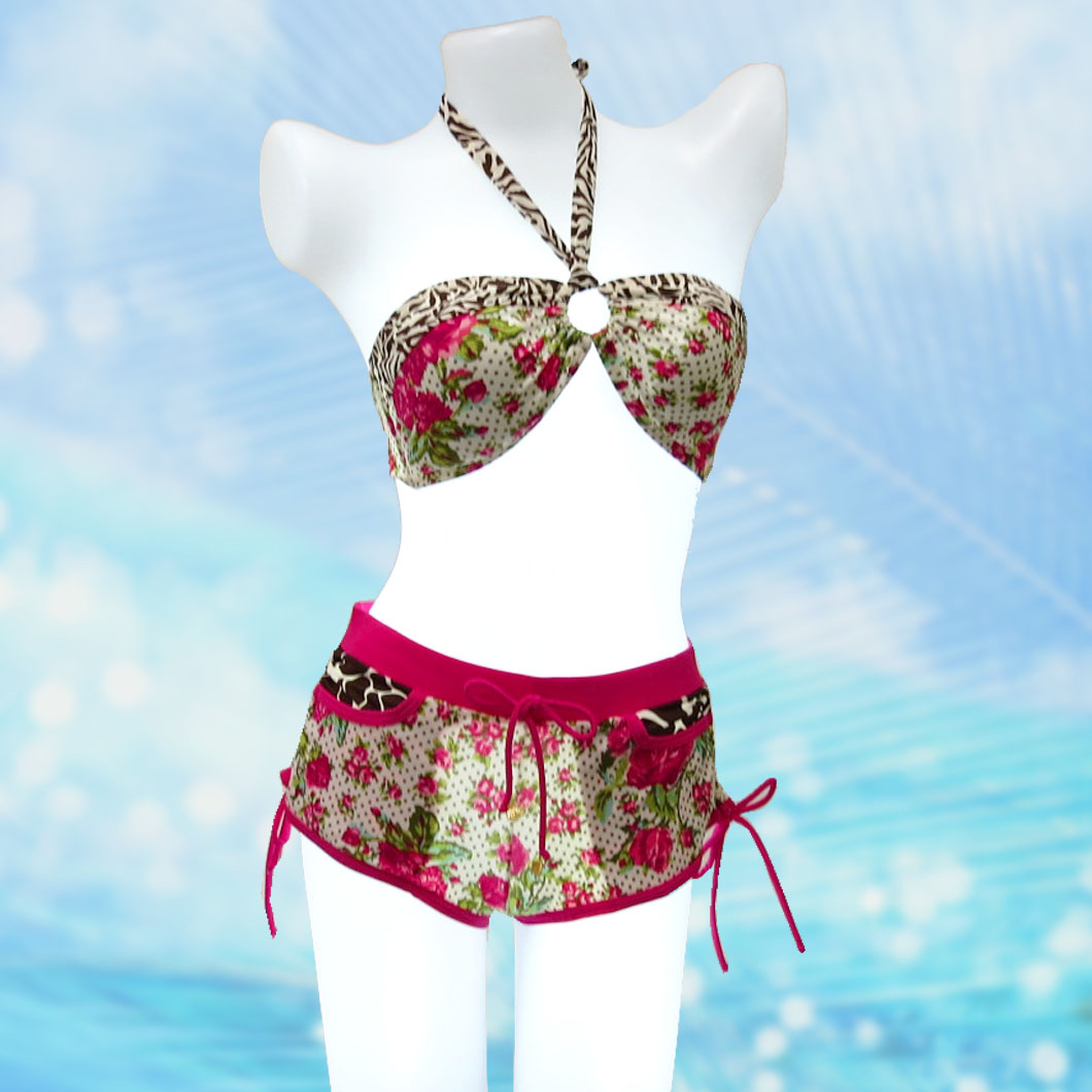 LOCO BOUTIQUE ロコブティック ピンク 花柄 ビキニ 3点セット L04 水着 ハワイ