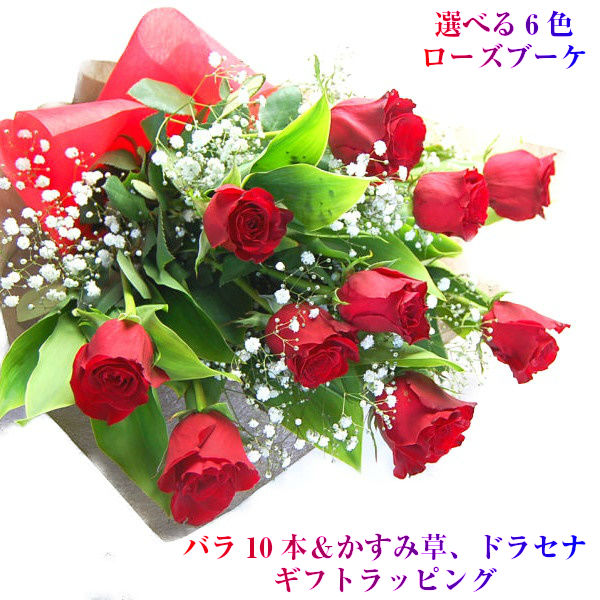 選べる6色 ボリューム 豪華バラ花束 花 ギフト 定番キャンバス 生花 バラ 花束 ローズブーケNEW かすみ草 記念日 お得セット 誕生日