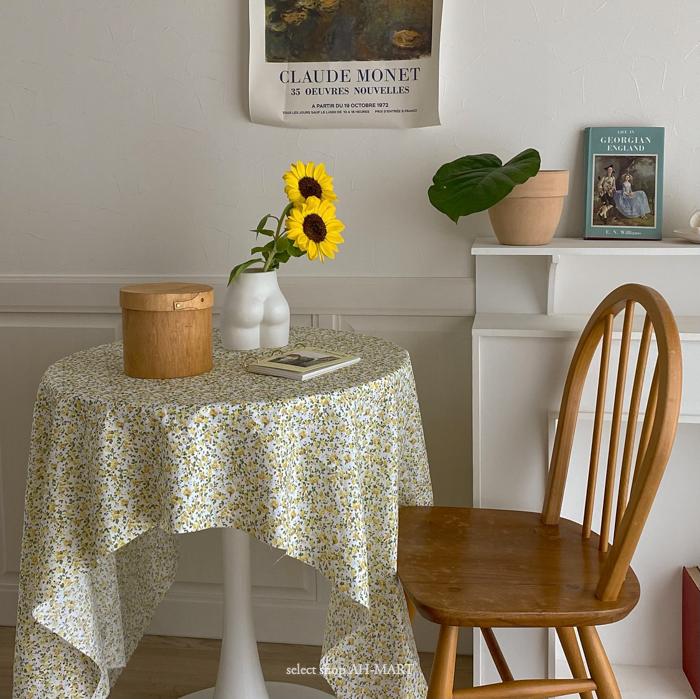 テーブルクロス 布 韓国 インテリア おしゃれ Yellow Flower Table Cross 丸テーブル 雑貨 150cm 100 ギフト AH-MART 一人暮らし 爆売り 正規逆輸入品 プレゼント