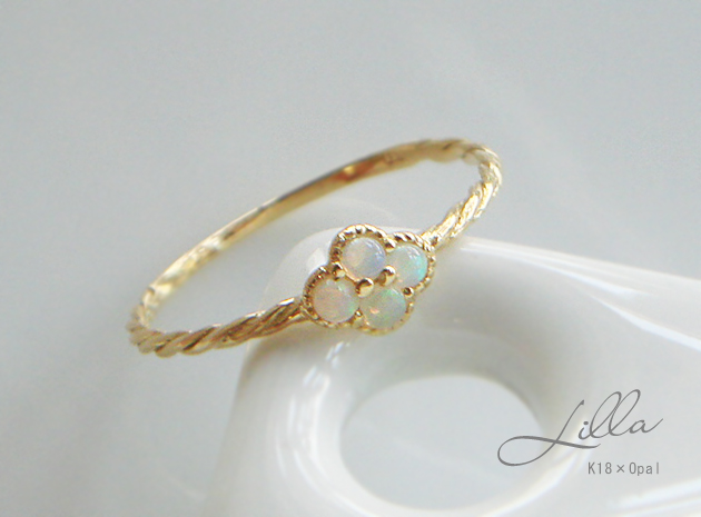 ahoui Rakuten Global Market Delicate Milky Opal ring in gold K18