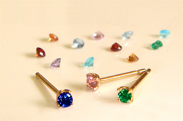 3f2ccf7f5 I just カラフルコーデ ♪ colorful Stud Earrings * piece ear sell K18 gold fs3gm ...