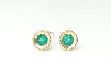 K18 Gold Emerald Earrings Catenare Color Catenale 18 K Yg Wg Pg 18kt Yellow White Pink Stud Clical Mill Gift Giveaway