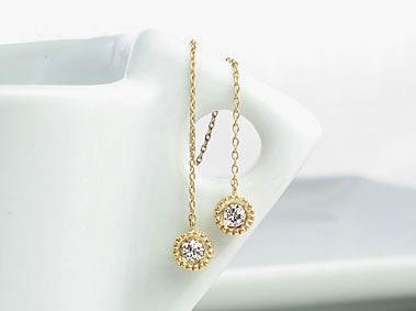 K18 ゴールド ダイヤモンド トータル0.2ct チェーンピアス H~Fカラー/SIクラス「Catenare - カテナーレ - 」18K 18金 YG WG PG イエローゴールド ホワイトゴールド ピンクゴールド ミル ひと粒 プレゼント 532P17Sep16
