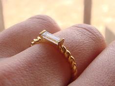 Too beautiful 5 ミリオーバー long! Needle bucket diamond ring K18 gold fs3gm