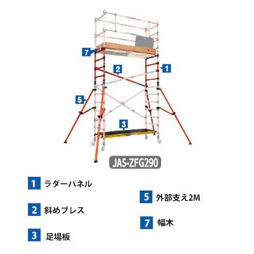 長谷川工業 JAS-ZFG290 #16481 FRP高所作業台・電気工事・電設作業用 ジッピー 2.9m延長セット