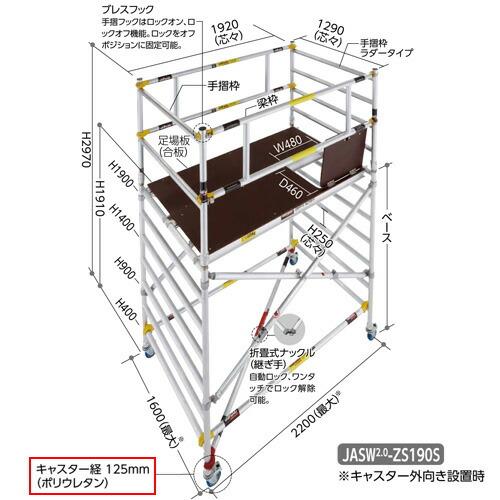 長谷川工業 JAS-C125 #16781 高所作業台 ジッピーW 構成部品 キャスター4個セット
