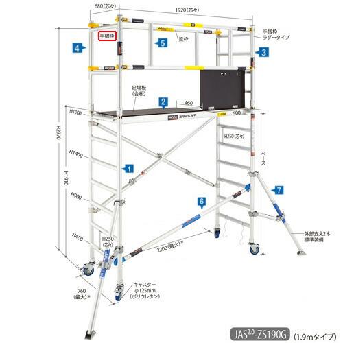 長谷川工業 JASW-AL-FSPGR #16783 高所作業台 ジッピーW 構成部品 手摺枠