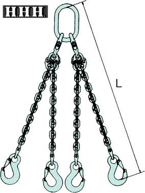 スリーエッチ CYF1.5Q15 チェーンフック 4本吊