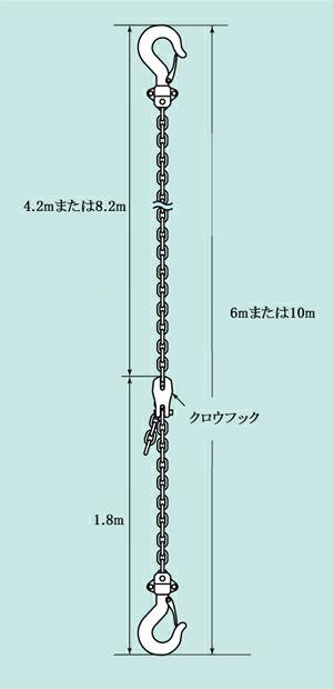 スリーエッチ PPC 10m パレットプーラー用フック付チェーン 10m