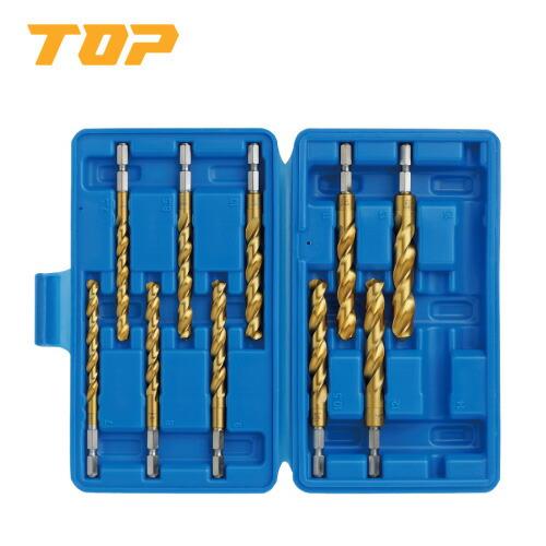 TOP/トップ工業 EOD-713S 電動ドリル用六角シャンク コバルトドリルセット(ステンレス用) 10本組 大径サイズ