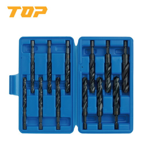 TOP/トップ工業 ETD-715S 電動ドリル用六角シャンク鉄工ドリルセット(大径) 12本組