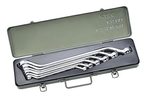 TOP/トップ工業 ISO-TM-B 両口メガネレンチセット(45°型長形) ISO 6丁組 メタルケース入り