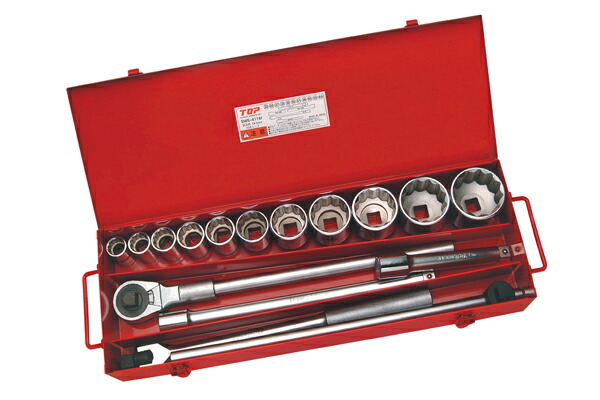 TOP/トップ工業 SWS-611M ソケットレンチセット(差込角19.0mm) 12角ソケット(11種) 16点セット