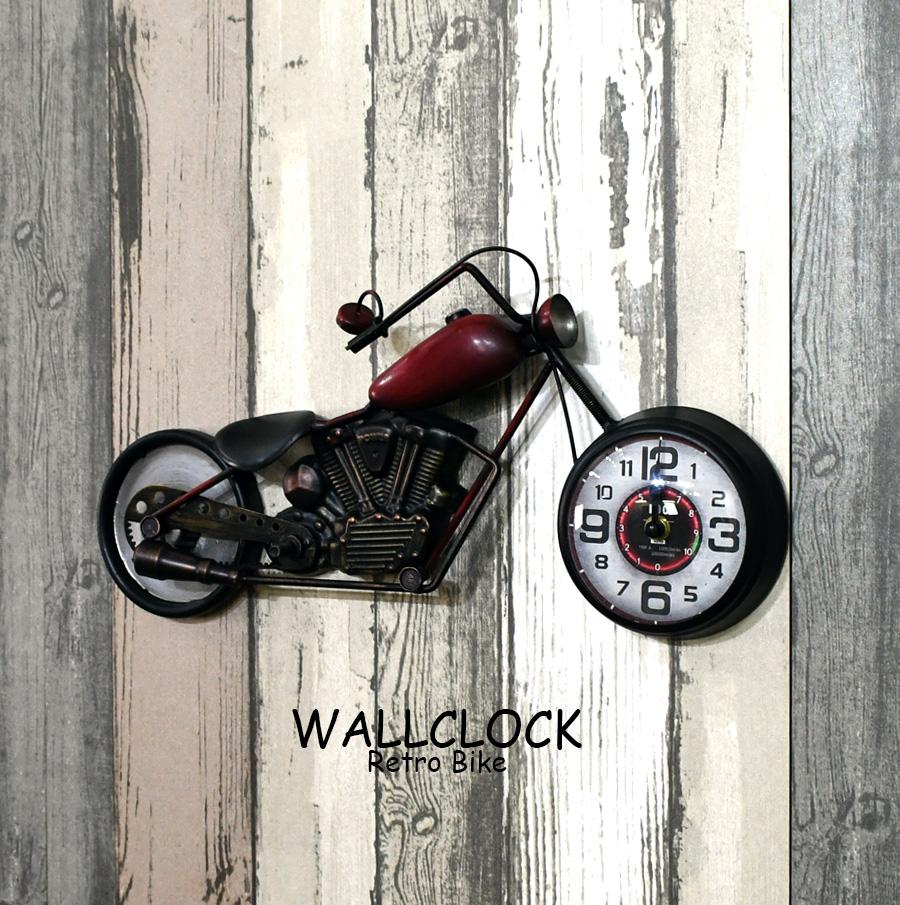 時計 激安通販 ブリキ製 バイク アメリカン おしゃれ アナログ レトロバイク風 小さい 置き時計 壁掛け時計 生活雑貨 ハーレー風 コンパクト プレゼント ガレージに 贈り物 アメリカン雑貨