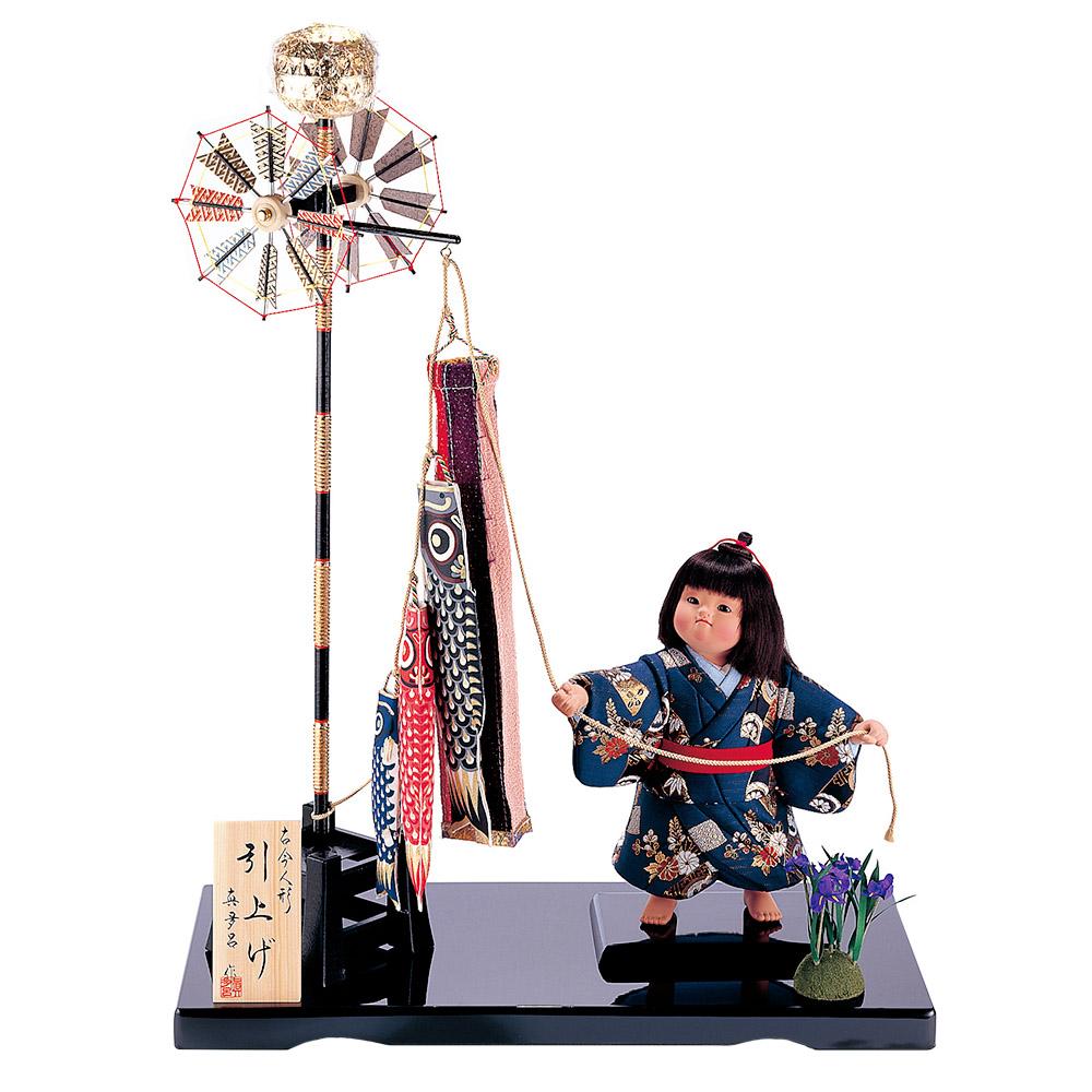 五月人形 真多呂人形の初節句飾り 真多呂人形作 木目込み 大将飾り 3513 秀逸 鯉のぼり付き 引上げ 送料無料新品 子供大将