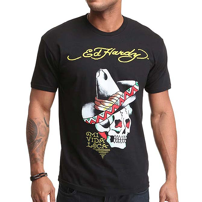reasonably priced offer discounts newest Ed Hardy short sleeve T shirt Mexican / black and white EDHARDY 5223 Don  Ed-Hardy mens embroidered genuine