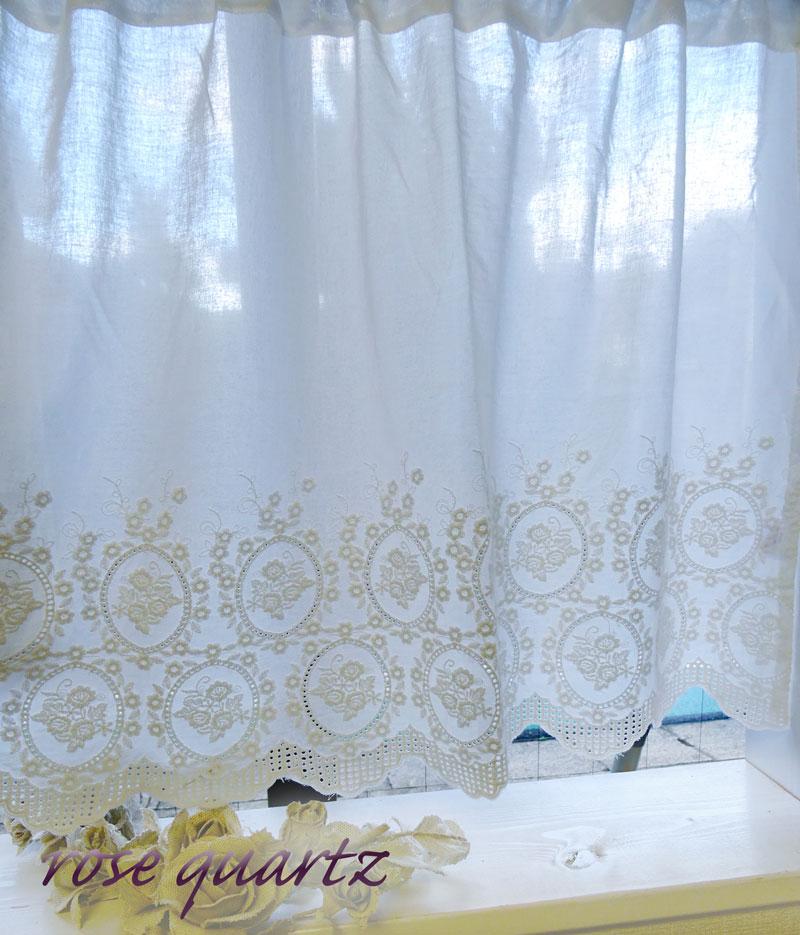 オフホワイト お手頃価格で上質です お買い得 薔薇 ローズ 送料無料 45cm丈ショート HLS_DU 格安 コットン カフェカーテン ローズクォーツカフェカーテン小窓用 シンプルナチュラル