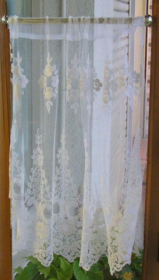 細窓 全国一律送料無料 小窓 幅 55cm タイムセール 縦45cm ショートサイズ カフェカーテン 小窓用 アイボリーな上質チュールにベージュの刺繍の