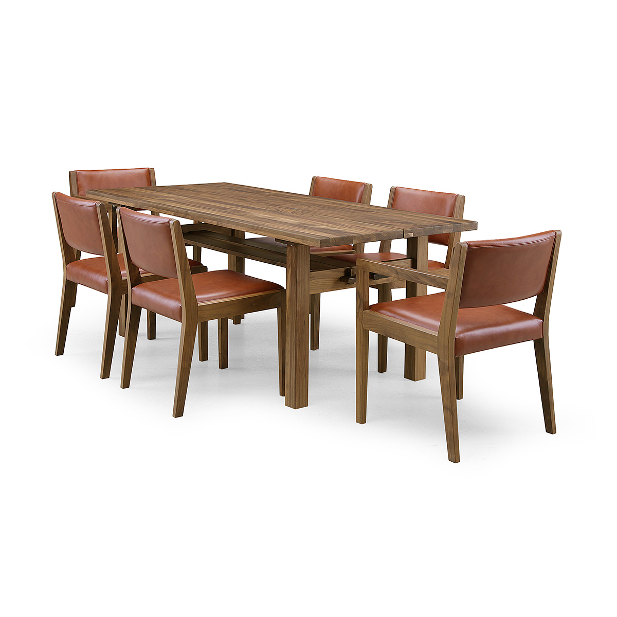 35%OFF [7点セット] GREEN home style ROSE MARY DINING TABLE 180 + ARM CHAIR A + SIDE CHAIR A (グリーン ローズマリー ダイニングテーブル 180 アームチェア A サイドチェア A) 岩倉 榮利 (ウォールナット材)【同梱不可】