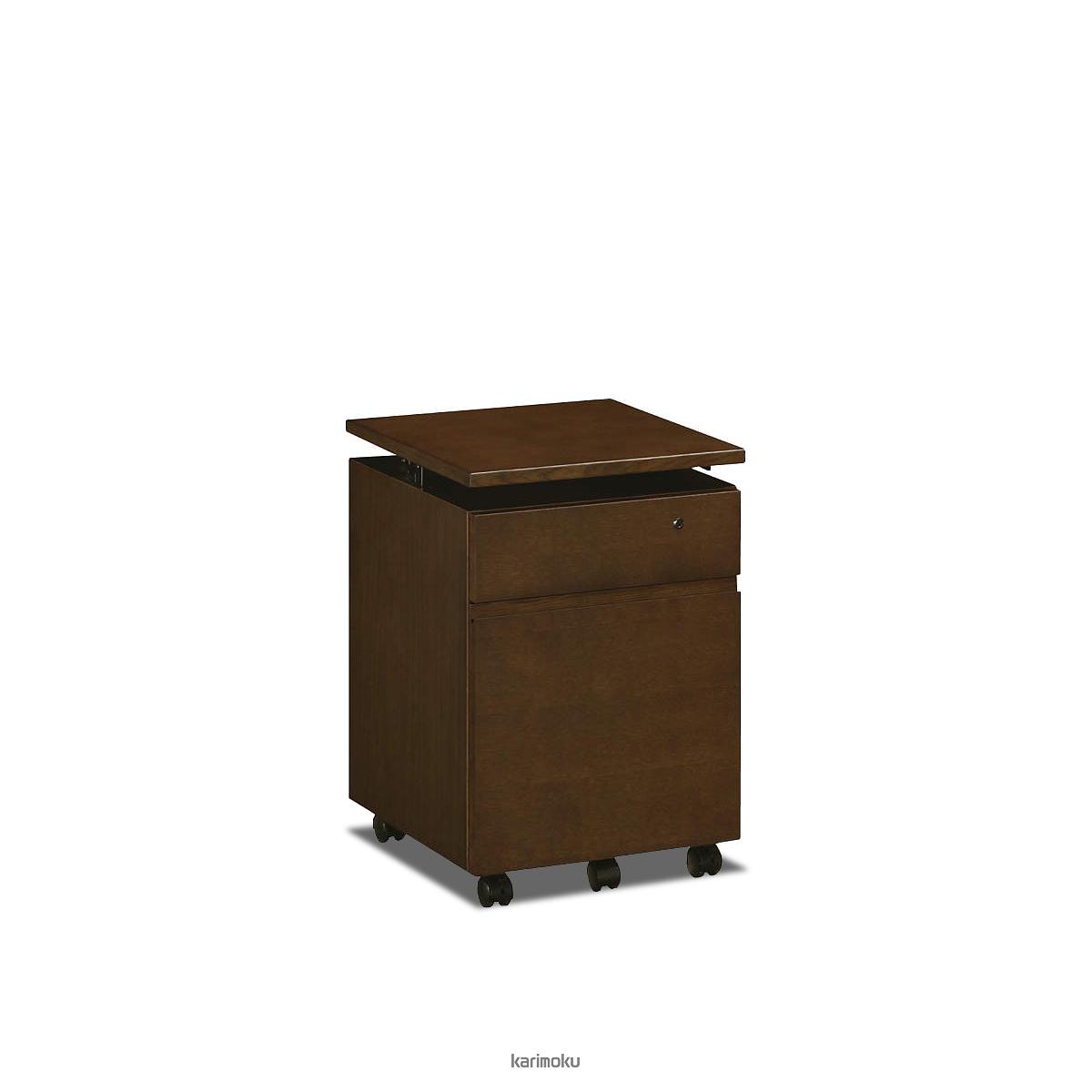 カリモク 学習机 SS0466 ワゴン (デスク奥行き45cm専用, 幅40cm, モカブラウン色)【全国送料無料】【同梱不可】【店頭受取対応商品】