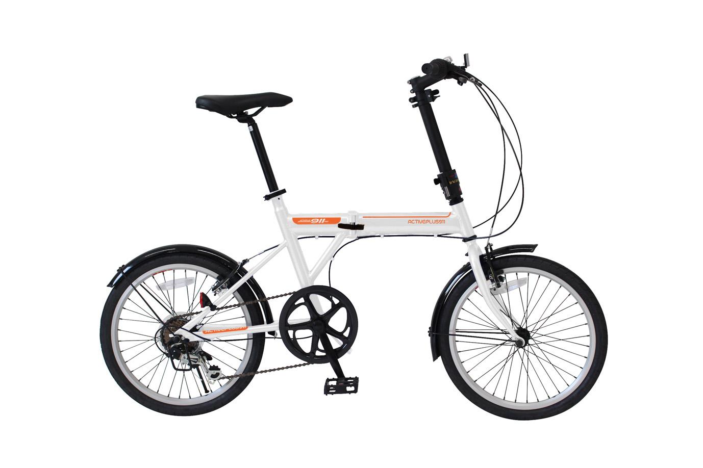 ACTIVEPLUS911 折畳自転車20インチモデル ノーパンクFDB206SF ホワイト MG-G206NF-WH[アクティブプラス 自転車][ミムゴ MIMUGO][激安自転車 通販]05P27May16