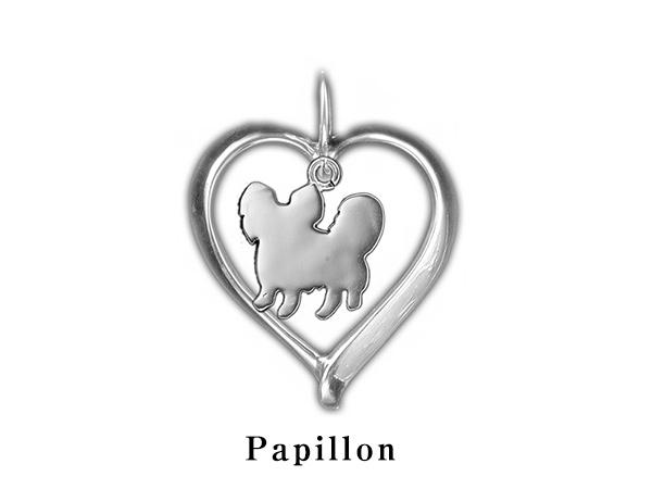 (パピヨン)材質シルバードッグモチーフのネックレス(ドッグネックレス,愛犬ネックレス,アクセサリー,ジュエリー)