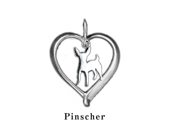 (ピンシャー)材質シルバードッグモチーフのネックレス(ドッグネックレス,愛犬ネックレス,アクセサリー,ジュエリー)