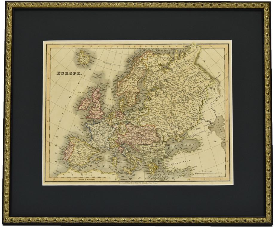 古地図 原本 1828年 ヨーロッパ (額装つき)-EUROPE-