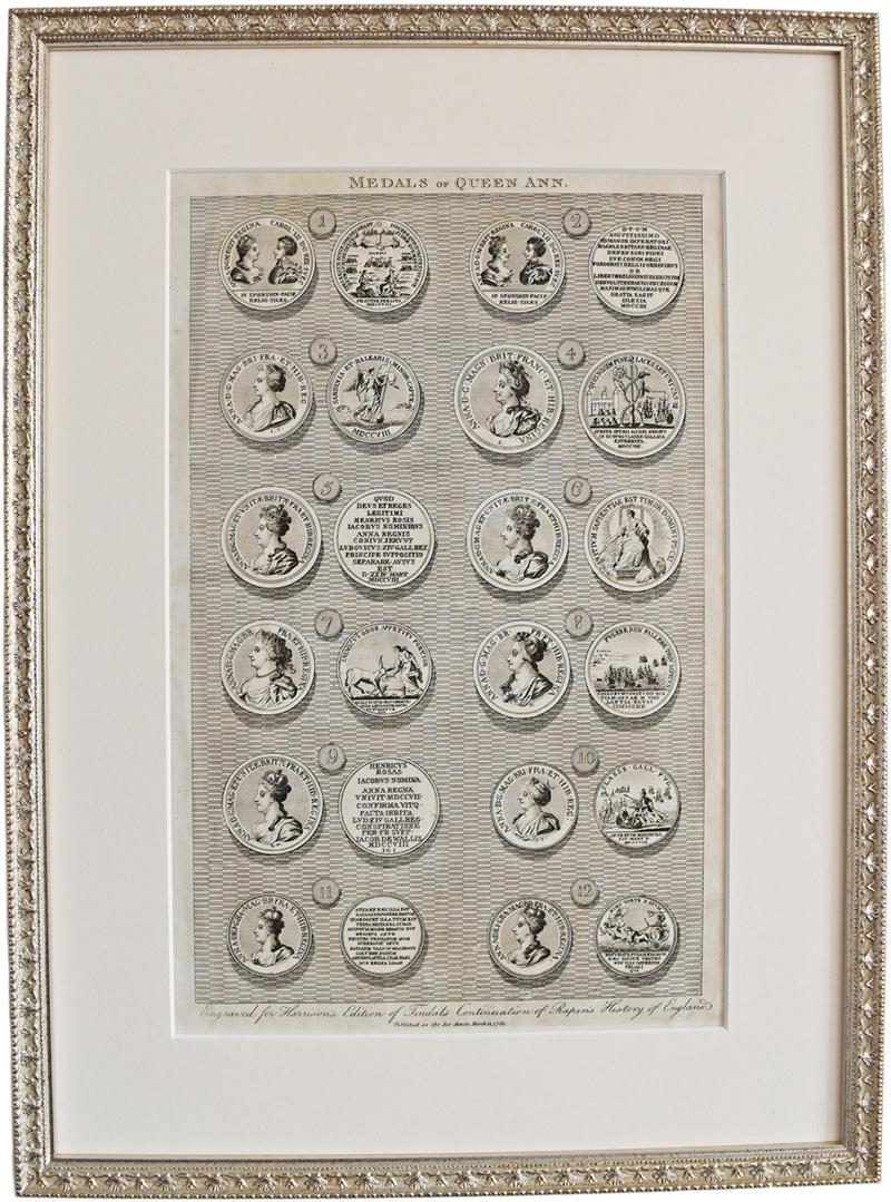古地図 原本 1780年 (額装つき) -MEDALS OF QUEEN ANN-