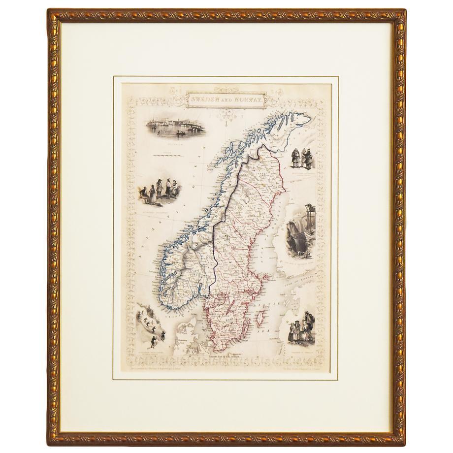 古地図 原本 (額装つき) -SWEDEN AND NORWAY-