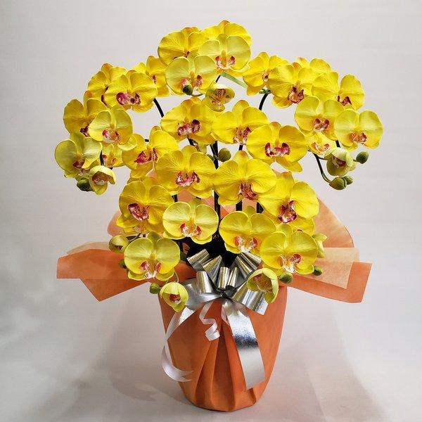 胡蝶蘭-黄 5F高さ70cm×巾40cm造花 光触媒 有名な 高級