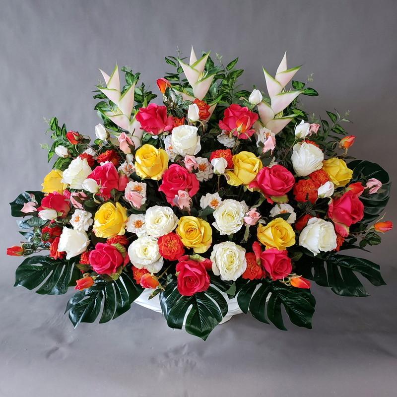 バラ三昧アレンジ-MIX高さ85cm×巾100cm造花・光触媒