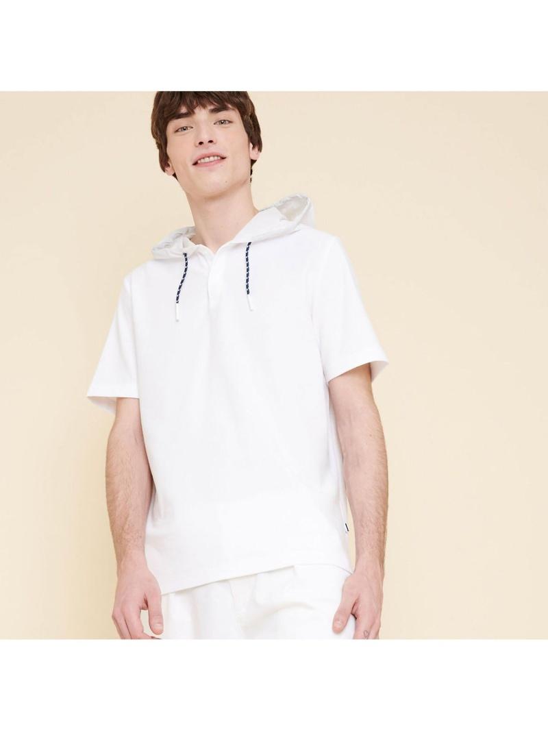 AIGLE メンズ カットソー エーグル 数量は多 Rakuten Fashion 新作 大人気 SALE 吸水速乾フーディ半袖ポロシャツ 50%OFF RBA_E ホワイト ポロシャツ 送料無料