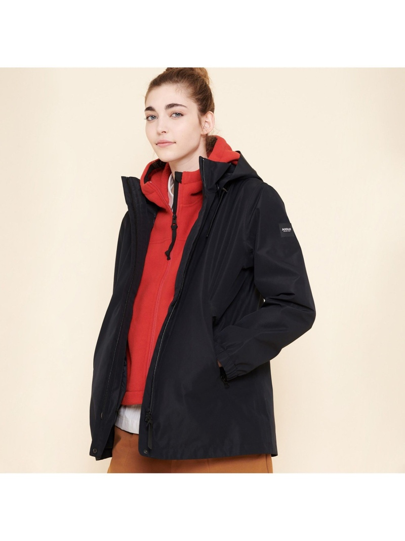 AIGLE レディース コート ジャケット エーグル Rakuten マウンテンパーカー Fashion 通常便なら送料無料 アモスコ レッド ブラック 店舗 送料無料