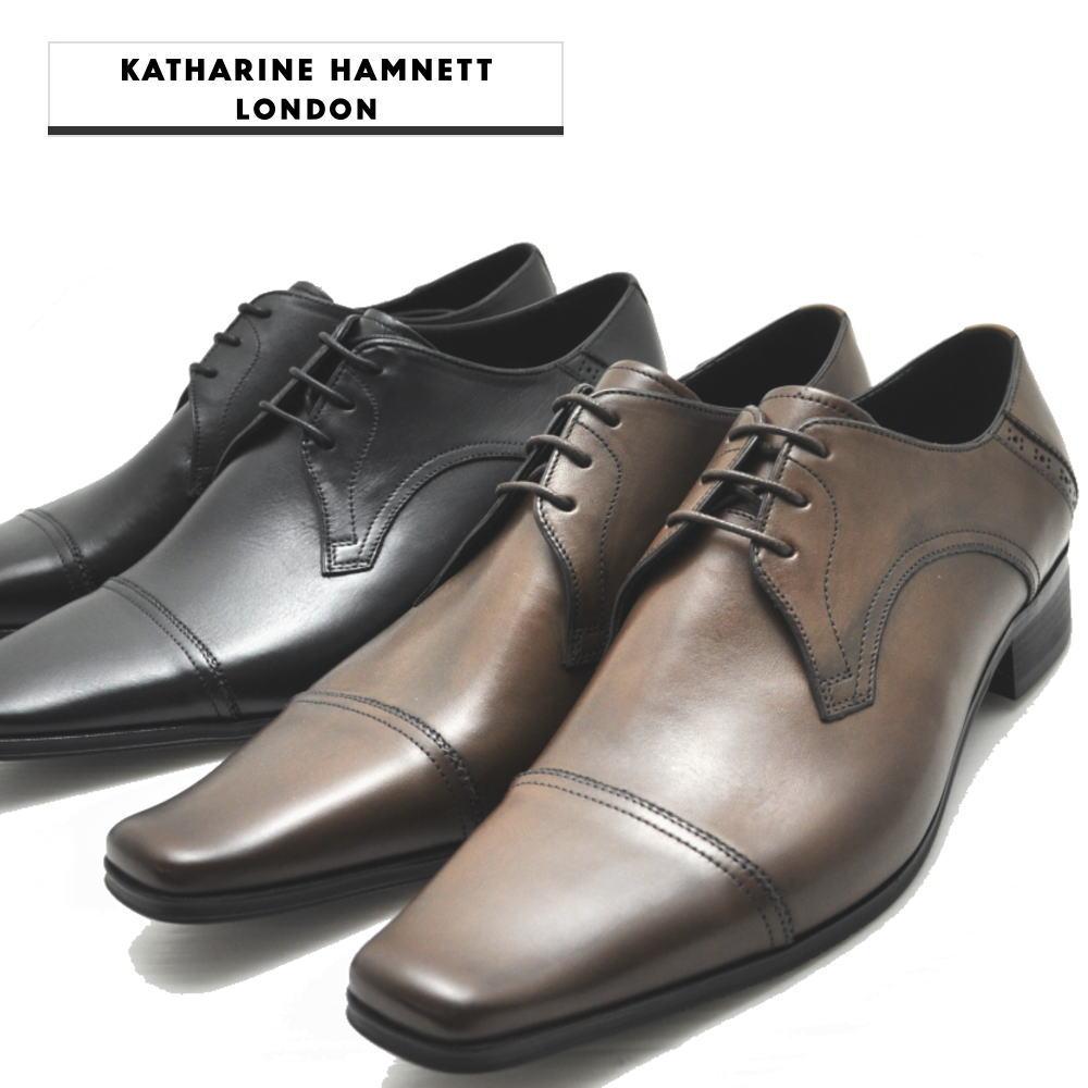 キャサリンハムネット ストレートチップ スクエアートウ ビジネスシューズ 革靴 KH3980