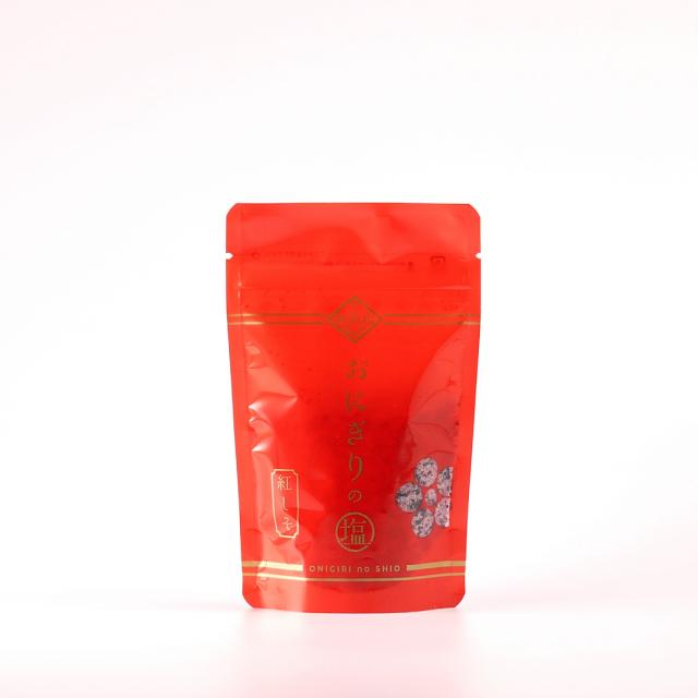 \自然塩 天然塩/越前若狭の名産『福井梅』の梅酢を合わせた、梅の風味豊かな塩です。 越前おにぎりの塩 紅しそ 70g