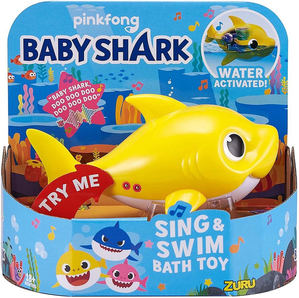 ベイビーシャーク 水遊び 風呂 日本最大級の品揃え おもちゃ イエロー Robo Alive Junior Baby Shark Battery-Powered Bath 並行輸入品 ZURU Yellow Toy by 激安挑戦中 ラッピング不可 and - Swim Sing