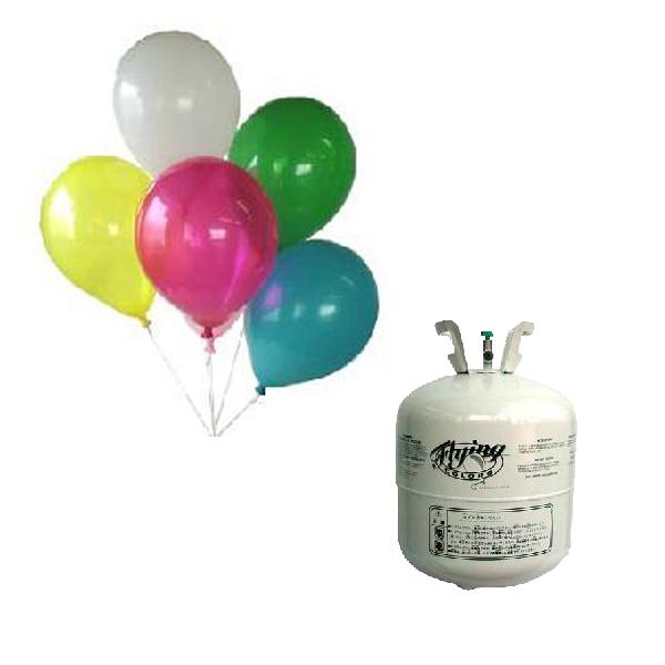 無地(糸バルブ付 10インチ丸型) ゴム風船(30個) 混合色または色別&400Lヘリウム缶セット