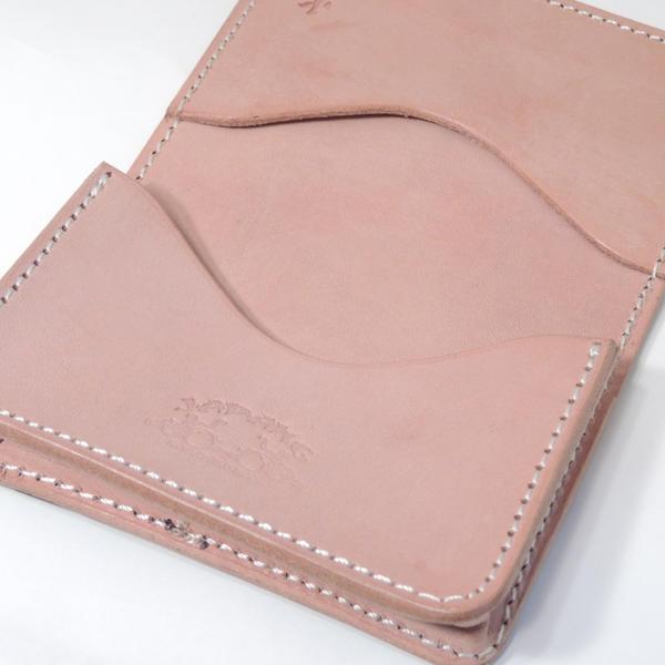 """革蛸☆KWATAKO JAPANG*WAKASHO KIKAKU Natural plant Tannin tanned leather & KUROZAN Cowhide100% Card case""""火男HYOTTOKO-Natural"""" Made in JAPAN★Daytona Bros publication product"""