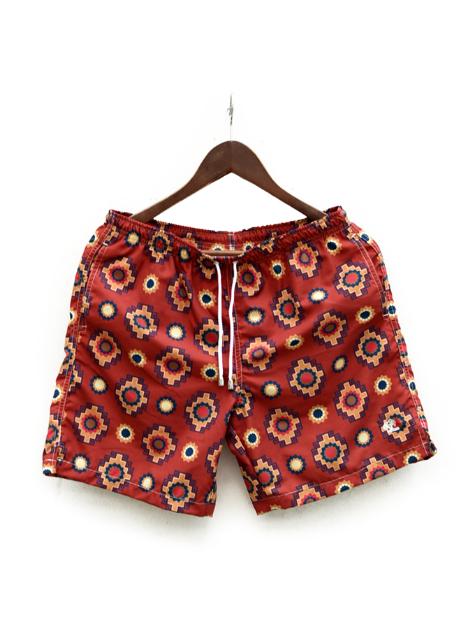 MITCHUMM INDUSTRIES(ミッチュム インダストリーズ)Printed incas designs on brick red/SWIM TRUNK 042 Made in Italy